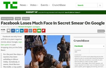 http://techcrunch.com/2011/05/12/facebook-loses-much-face-in-secret-smear-on-google/