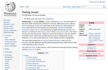 http://en.wikipedia.org/wiki/Swing_music