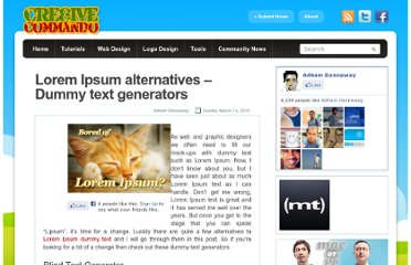 http://www.cre8ivecommando.com/lorem-ipsum-alternatives-dummy-text-generators-1887/