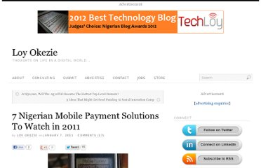 http://www.loyokezie.com/2011/01/07/7-nigerian-mobile-payment-solutions-to-watch-in-2011/
