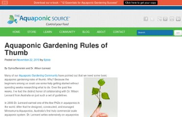 http://theaquaponicsource.com/frequently-asked-questions/aquaponic-gardening-rules-of-thumb/