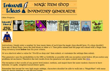 http://www.inkwellideas.com/roleplaying_tools/magic_item_shop/