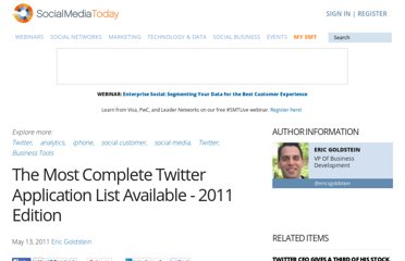 http://socialmediatoday.com/eric-goldstein/295232/most-complete-twitter-application-list-available-2011-edition
