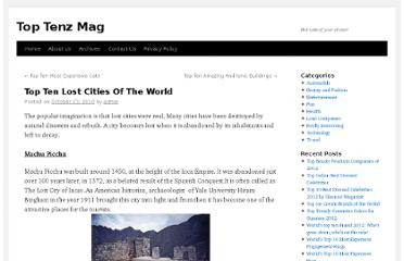 http://toptens.in/2010/10/23/top-ten-lost-cities-of-the-world/