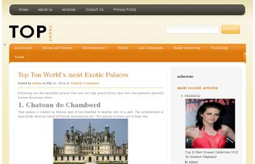 http://toptens.in/2011/02/11/top-ten-worlds-most-exotic-palaces/