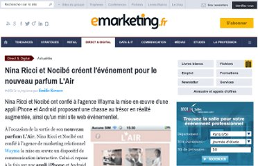 http://www.e-marketing.fr/Breves/Nina-Ricci-et-Nocibe-creent-l-evenement-pour-le-nouveau-parfum-L-Air-39173.htm