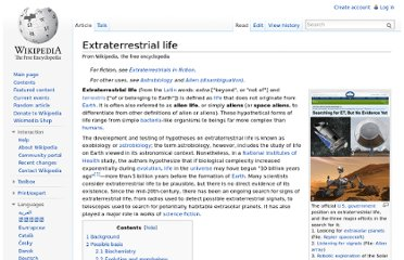 http://en.wikipedia.org/wiki/Extraterrestrial_life#Scientific_search_for_extraterrestrial_life