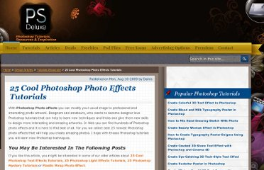 http://www.psdeluxe.com/articles/tutorials-showcase/25-cool-photoshop-photo-effects-tutorials/