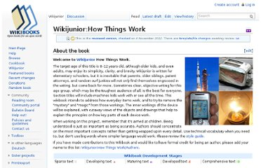 http://en.wikibooks.org/wiki/Wikijunior:How_Things_Work