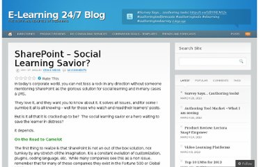 http://elearninfo247.com/2011/05/17/sharepoint-social-learning-savior/