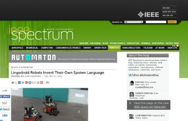 http://spectrum.ieee.org/automaton/robotics/artificial-intelligence/lingodroid-robots-invent-their-own-spoken-language