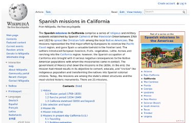 http://en.wikipedia.org/wiki/Spanish_missions_in_California
