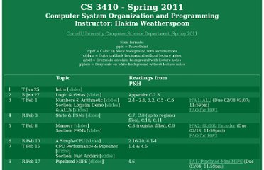 http://www.cs.cornell.edu/courses/cs3410/2011sp/schedule.html