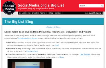 http://www.socialmedia.org/blog/big-list-case-studies/social-media-case-studies-from-mitsubishi-mcdonalds-budweiser-and-9-more/
