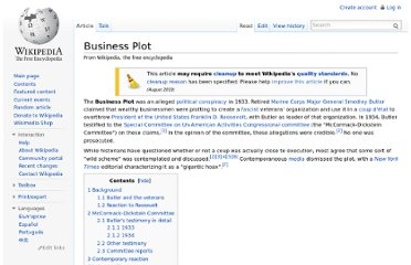 http://en.wikipedia.org/wiki/Business_Plot