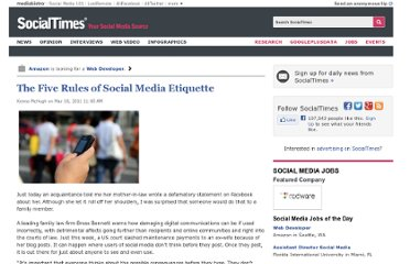 http://socialtimes.com/the-five-rules-of-social-media-etiquette_b62327