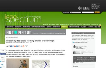 http://spectrum.ieee.org/automaton/robotics/artificial-intelligence/awesomely-bad-ideas-teaching-a-robot-to-sword-fight