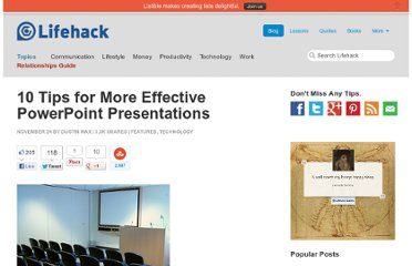 http://www.lifehack.org/articles/technology/10-tips-for-more-effective-powerpoint-presentations.html