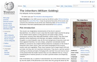 http://en.wikipedia.org/wiki/The_Inheritors_(William_Golding)