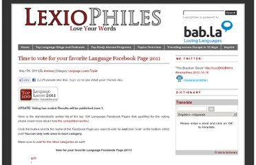 http://www.lexiophiles.com/language-lovers-toplist/time-to-vote-for-your-favorite-language-facebook-page-2011