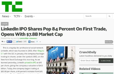 http://techcrunch.com/2011/05/19/linkedin-ipo-shares-pop-84-percent-on-first-trade/