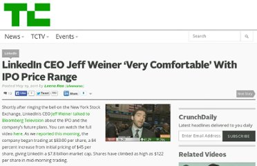 http://techcrunch.com/2011/05/19/linkedin-ceo-jeff-weiner-very-comfortable-with-ipo-price/