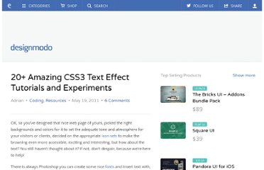 http://designmodo.com/css3-text-effect-tutorials/