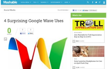 http://mashable.com/2009/12/15/surprising-google-wave-uses/