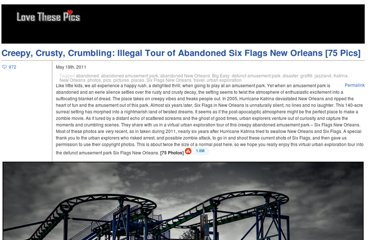 http://www.lovethesepics.com/2011/05/creepy-crusty-crumbling-illegal-tour-of-abandoned-six-flags-new-orleans-75-pics/