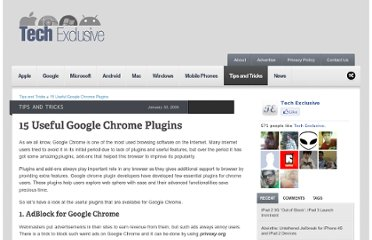 http://www.tech-exclusive.com/15-useful-google-chrome-plugins/