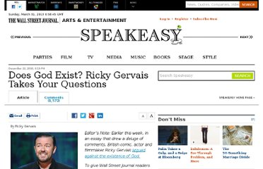 http://blogs.wsj.com/speakeasy/2010/12/22/does-god-exist-ricky-gervais-takes-your-questions/