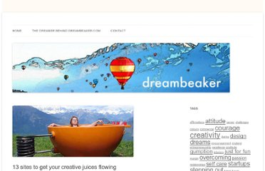 http://dreambeaker.com/2011/03/14/13-sites-to-get-your-creative-juices-flowing/