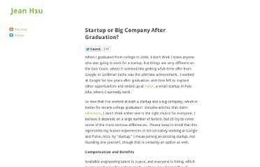 http://www.jeanhsu.com/2011/05/19/startup-or-big-company-after-graduation/