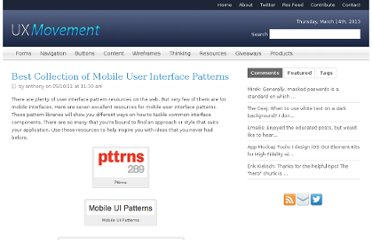 http://uxmovement.com/resources/best-collection-of-mobile-user-interface-patterns/