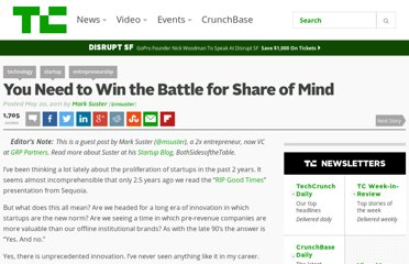 http://techcrunch.com/2011/05/20/you-need-to-win-the-battle-for-share-of-mind/
