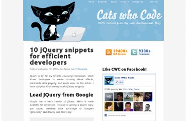 http://www.catswhocode.com/blog/10-jquery-snippets-for-efficient-developers