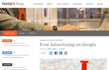 http://blog.hubspot.com/blog/tabid/6307/bid/1612/Free-Advertising-on-Google.aspx