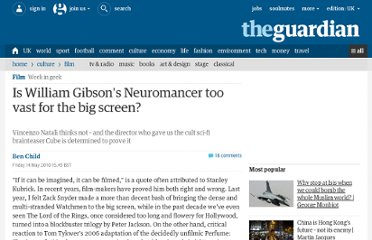 http://www.guardian.co.uk/film/filmblog/2010/may/14/william-gibson-neuromancer-vincenzo-natali