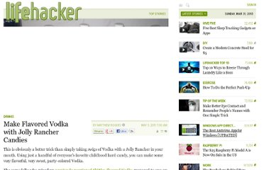http://lifehacker.com/5798026/make-flavored-vodka-with-jolly-rancher-candies