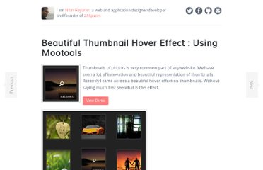 http://www.nitinh.com/2009/10/beautiful-thumbnail-hover-effect-using-mootools/