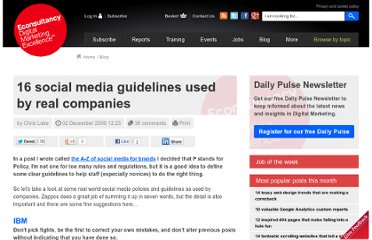 http://econsultancy.com/blog/5049-16-social-media-guidelines-used-by-real-companies