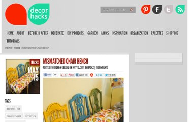 http://decorhacks.com/2011/05/mismatched-chair-bench/