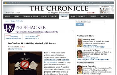http://chronicle.com/blogs/profhacker/profhacker-101-getting-started-with-zotero/22829