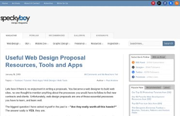 http://speckyboy.com/2010/01/18/useful-web-design-proposal-resources-tools-and-apps/