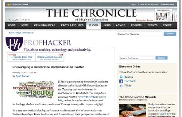 http://chronicle.com/blogs/profhacker/encouraging-a-conference-backchannel-on-twitter/30612