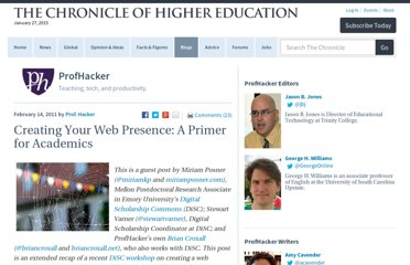 http://chronicle.com/blogs/profhacker/creating-your-web-presence-a-primer-for-academics/30458