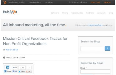 http://blog.hubspot.com/blog/tabid/6307/bid/14383/Mission-Critical-Facebook-Tactics-for-Non-Profit-Organizations.aspx