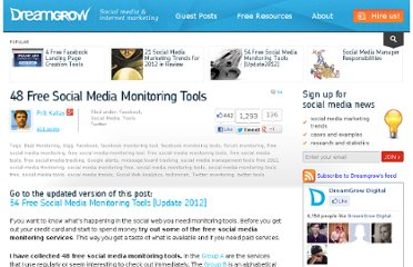 http://www.dreamgrow.com/48-free-social-media-monitoring-tools/