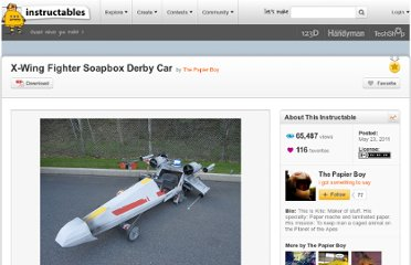 http://www.instructables.com/id/X-Wing-Fighter-Soapbox-Derby-Car/