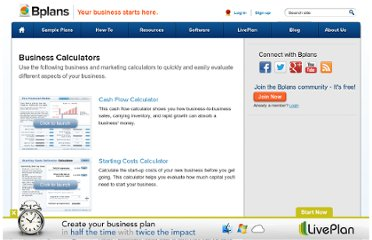 http://www.bplans.com/business_calculators/